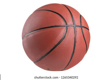 rubber brown classic basketball ball on a white background, isolate