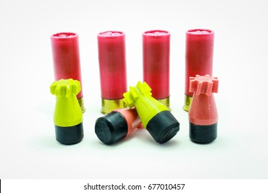 Rubber bullet of shotgun for crowd control on white background