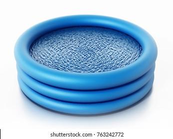 Rubber childrens' pool full of water. 3D illustration.