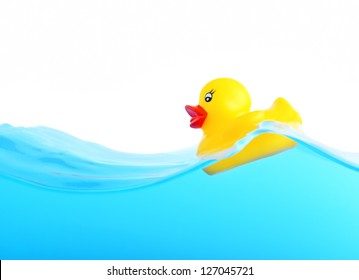 Rubber duckling floating in water