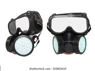 Rubber dust mask. Isolated black rubber dust mask with air filters profile and front view on white background.