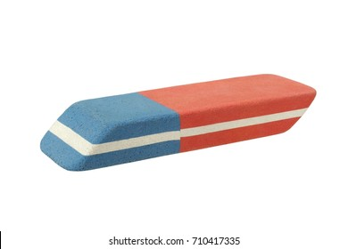 Rubber eraser for pencil and ink pen isolated on white background