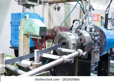 Rubber extruder is producing rubber profile