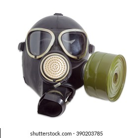 Rubber gas mask with filter mounted on side of the mask and drinking tube on a light background