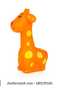 Rubber giraffe toy. Isolated on white background