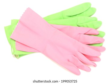 rubber gloves isolated on white background