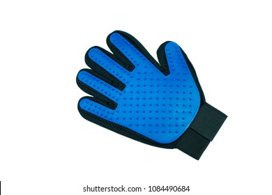 Rubber gloves for pet bath on isolated white background.   Pet supplies  concept.