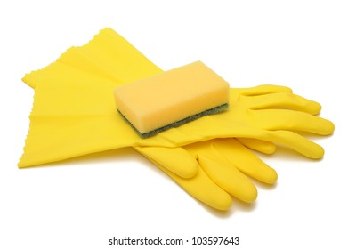 Rubber gloves and sponge
