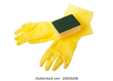 Rubber gloves and a sponge on a white background.