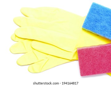 rubber gloves, sponges are isolated on a white background