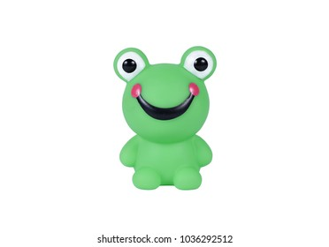 Rubber green colour frog bath toy isolated on white background