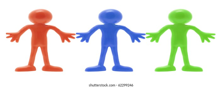 Rubber Miniature Figures on White Background
