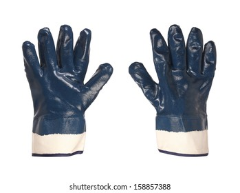Rubber protective blue gloves on a white background