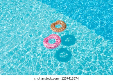 rubber rings in the pool in the summer