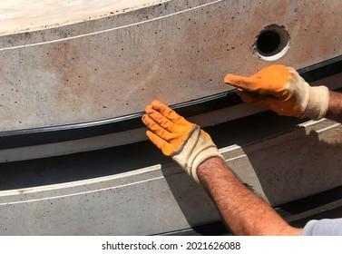 Rubber seals are applied to Concrete Tunnel segments.
