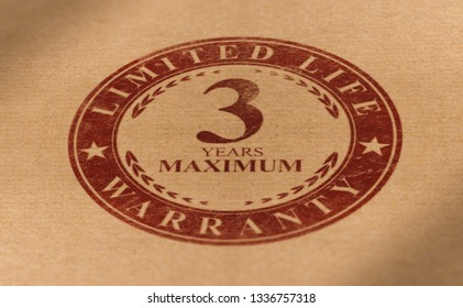 Rubber stamp mark over paper background with the following text, 3 years maximum limited life warranty. Planned obsolescence concept, product with short lifetime