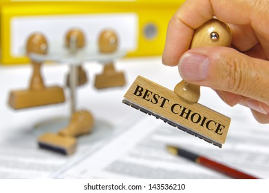 rubber stamp marked with best choice