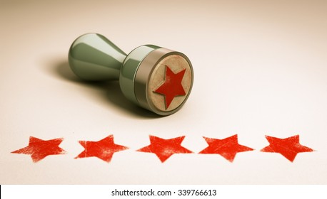 Rubber stamp over paper background with five stars printed on it. concept image for illustration of high customer experience and quality level