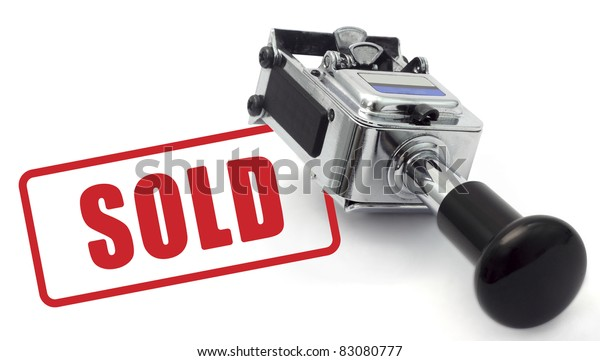 Rubber Stamp SOLD concept on a white background.