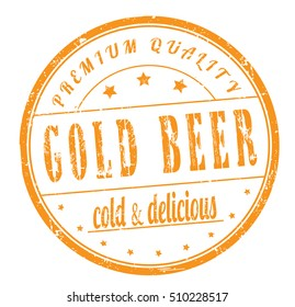 "rubber stamp with text ""gold beer, cold and delicious"" on white, bitmap"