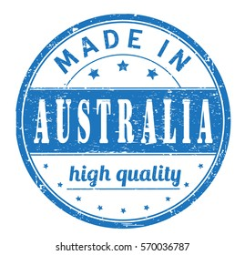 """rubber stamp with text """"made in Australia, high quality"""" on white"""