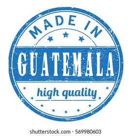 """rubber stamp with text """"made in Guatemala, high quality"""" on white"""