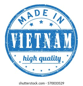 """rubber stamp with text """"made in Vietnam, high quality"""" on white"""