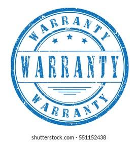 "rubber stamp ""warranty"" on white"