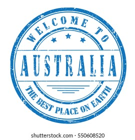 """rubber stamp """"welcome to Australia, the best place on Earth"""" on white"""