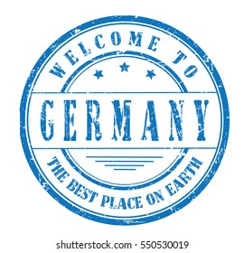 """rubber stamp """"welcome to Germany, the best place on Earth"""" on white"""