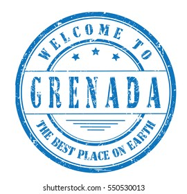 """rubber stamp """"welcome to Grenada, the best place on Earth"""" on white"""