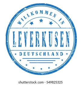 """rubber stamp """"welcome to Leverkusen, Germany"""" on white"""