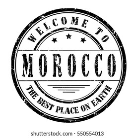 "rubber stamp ""welcome to Morocco, the best place on Earth"" on white"