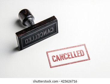 Rubber stamping that says 'Cancelled'.