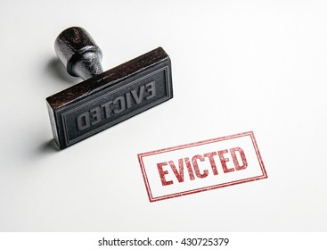 Rubber stamping that says 'Evicted'.