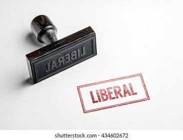 Rubber stamping that says 'Liberal'.
