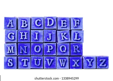 rubber stamps with wooden handle. the alphabet