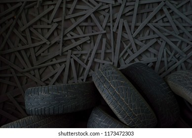 rubber tires from cars on a vintage wall background