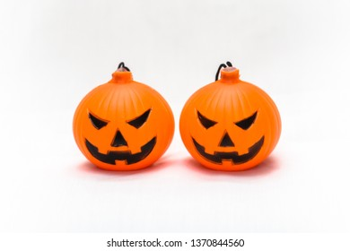 Rubber toy pumpkin for halloween decoration isolated on white background Thailand, Vietnam, Celebration, Cheerful, Close-up