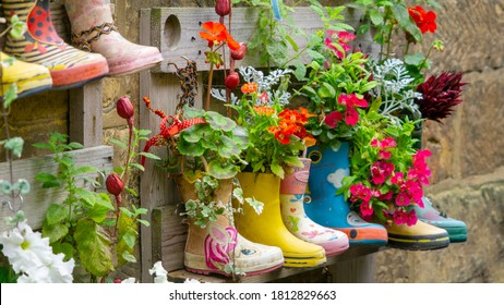 Rubber Wellington Boots are lined up and used as flower pots in the coastal village of Staithes, North Yorkshire, UK - Shutterstock ID 1812829663