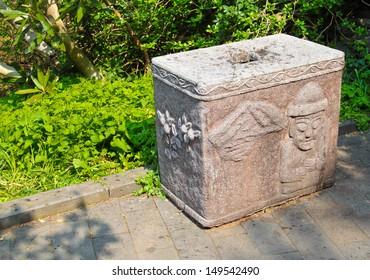 Rubbish bin with jeju iconic symbol at a Jeju Island tourism area.