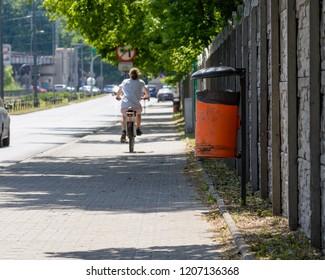 Rubbish Bin on a street, Polish Rubbish Bin, Captured in Poznan Spring 2018 Shallow Depth of Field Horizontal Photography