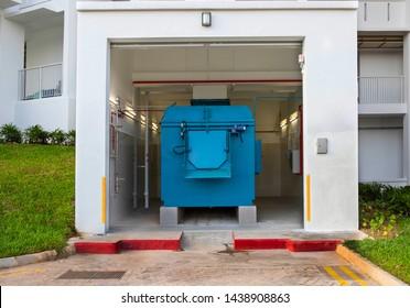 Rubbish chute in building background