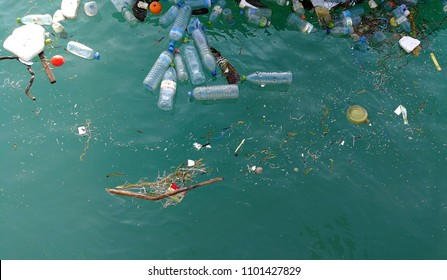 Rubbish in the ocean sea water