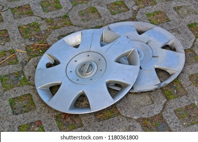 Rubbish old car hubcaps