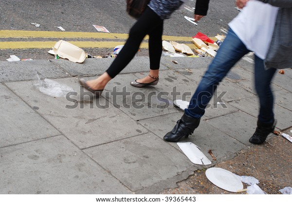 rubbish and passerby
