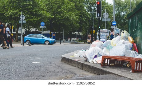 Rubbish Pile On English Streets, Captured at Bristol City Centre Spring 2018 Shallow Depth of Field