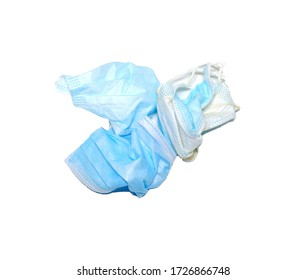 rubbish surgical mask virus protection isolated on a white background