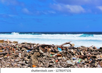Rubbish washed ashore on the beautiful, idyllic island of Bonaire, from the polluted Caribbean ocean. Plastic pollution in the oceans is a growing worldwide problem gaining increasing exposure.