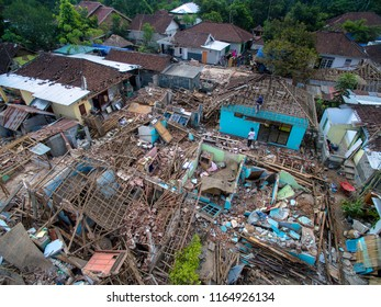 Rubble of collapsed building post earthquake of Lombok 2018